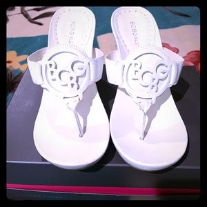 BCBG White Leather Sandaals Size 9